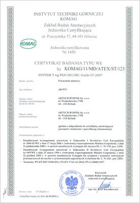 Certyfikat przenośniki taśmowe
