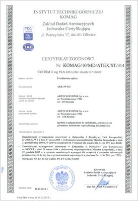 Certyfikat przekładnie zębate