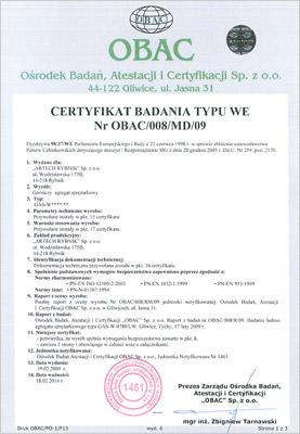 Certyfikat Obac