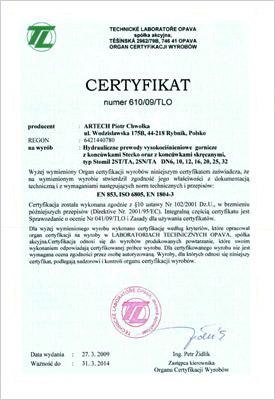 Certyfikat hydraulika