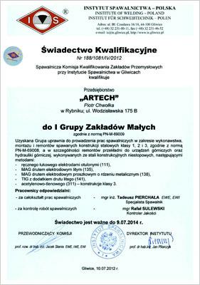 Certyfikat Spawalniczy Artech