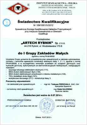 Certyfikat ISO 9001 Artech-Rybnik